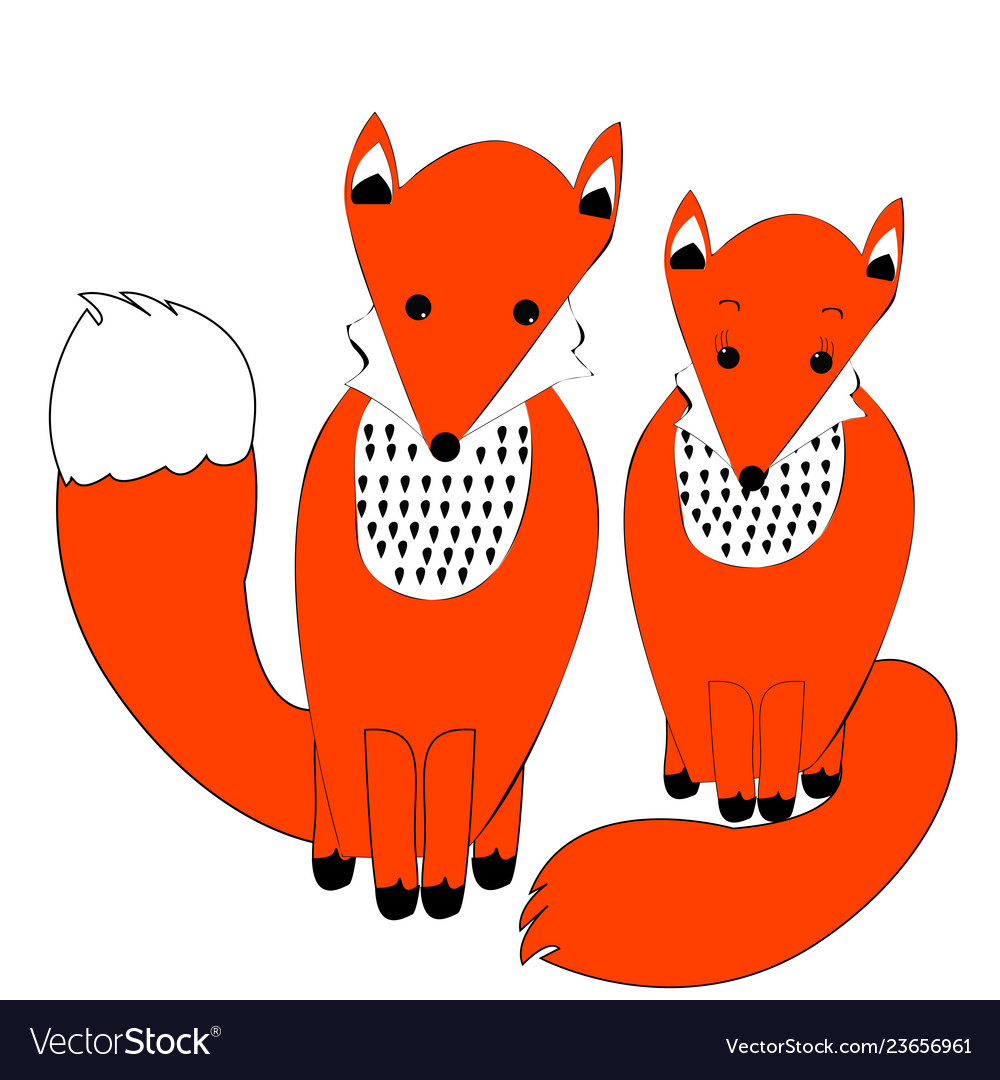 Cute couple of foxes in simple doodle style