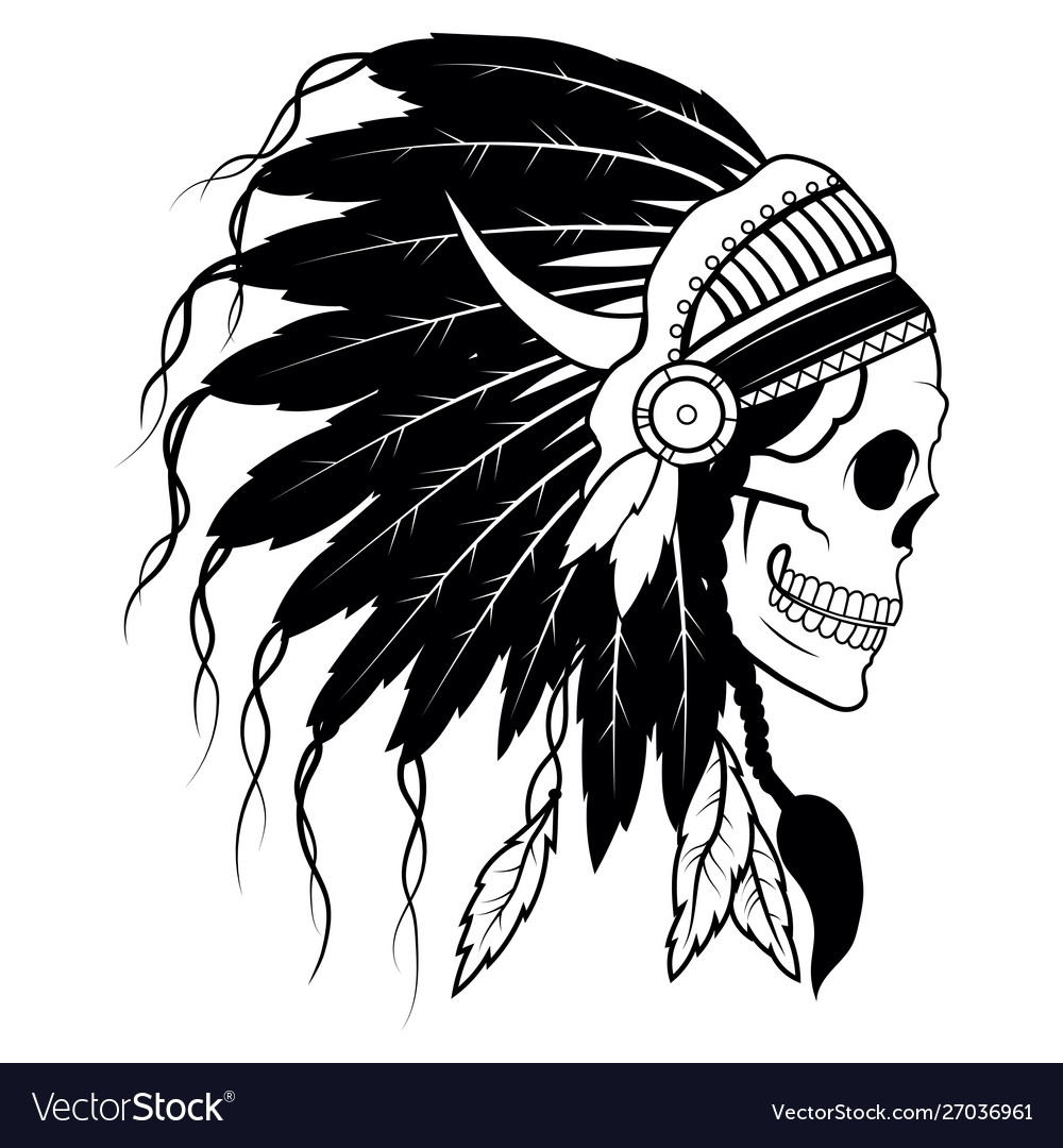 Indian skull with headdress feathers the