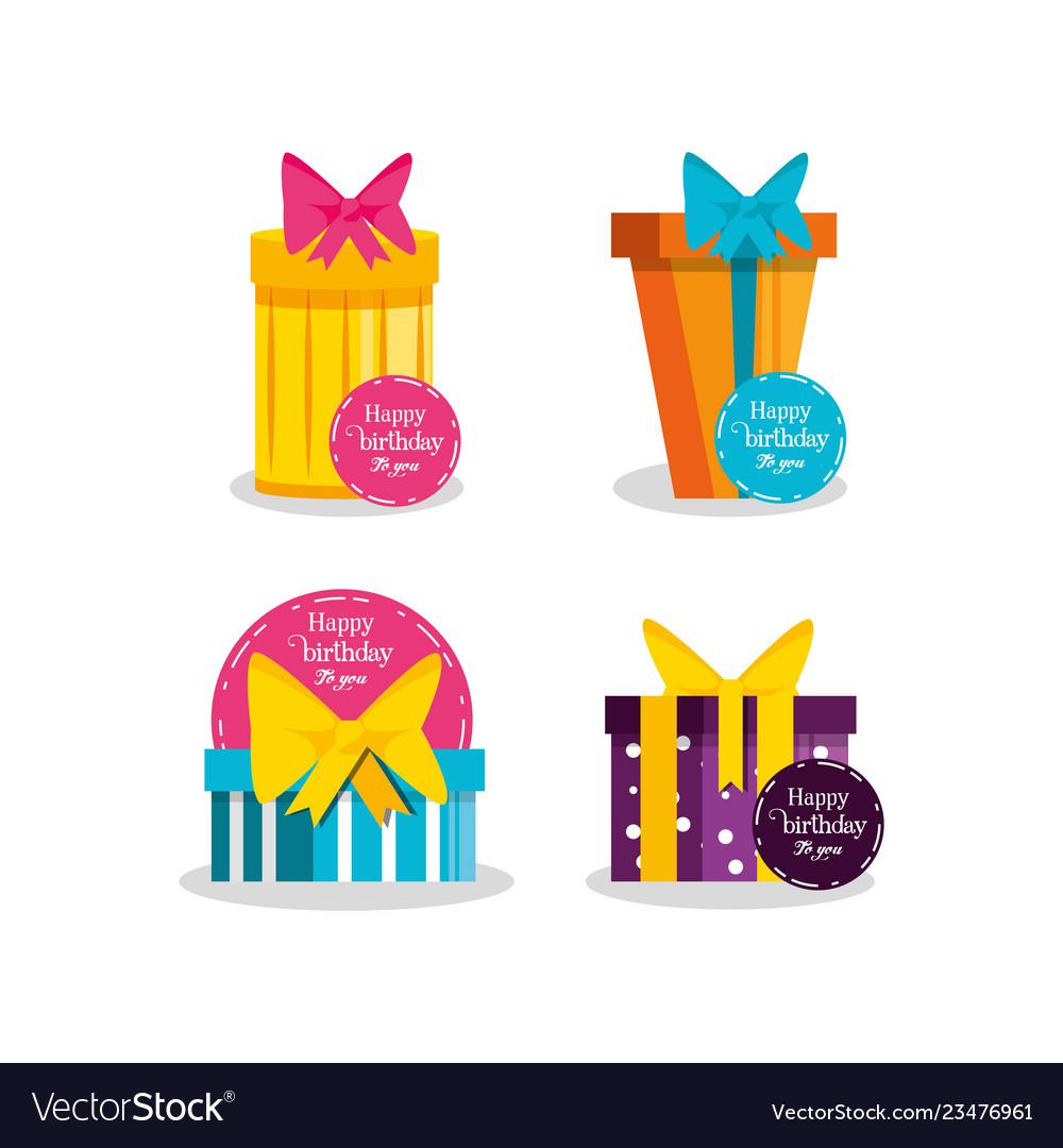 Set of birthday gift boxes
