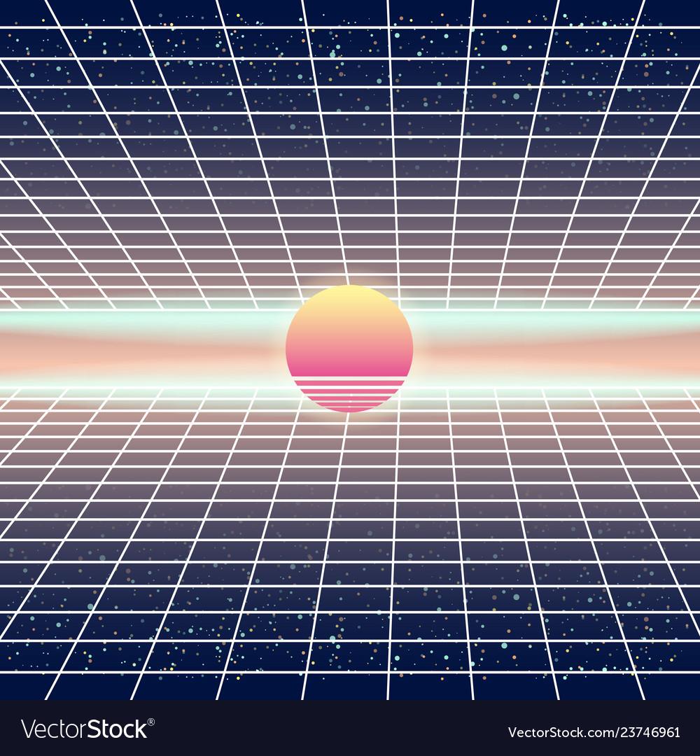 Synthwave retro futuristic landscape with sun and