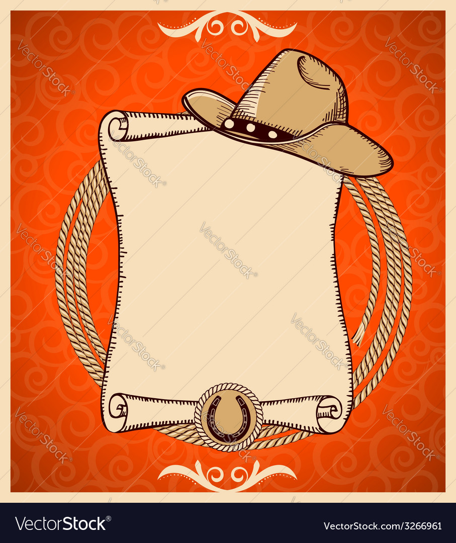 Western New Year greeting card with scroll vector image