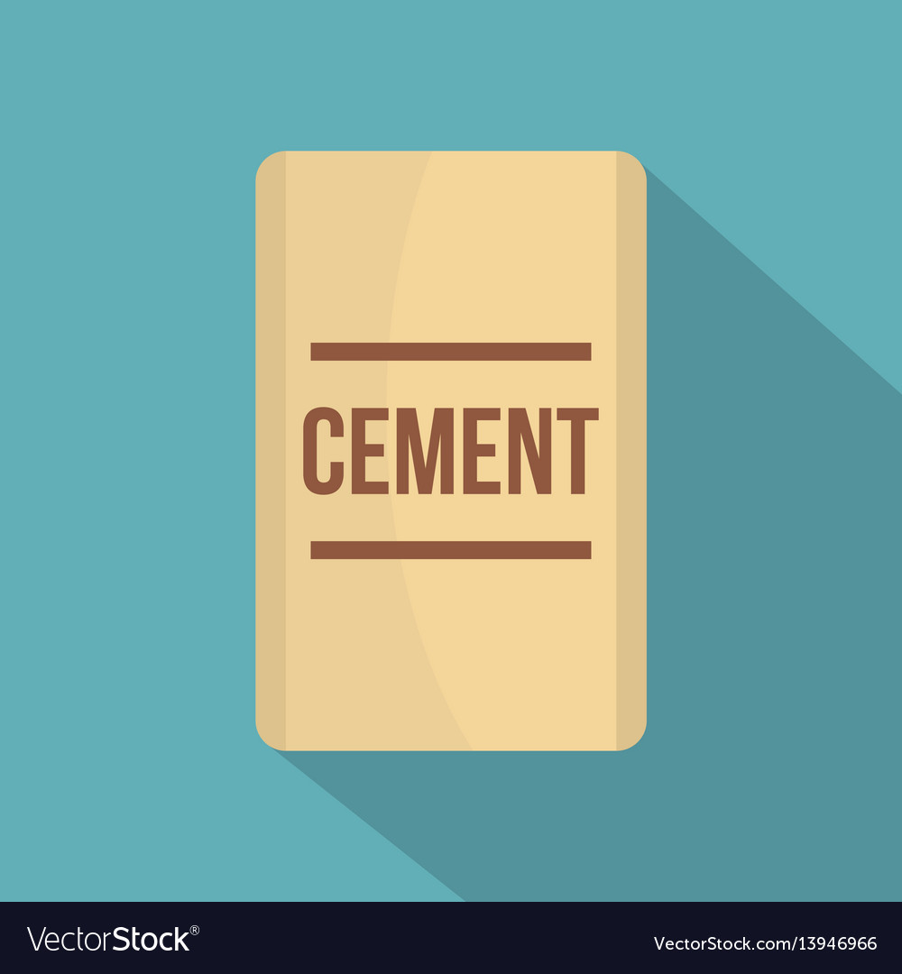 Bag of cement icon flat style