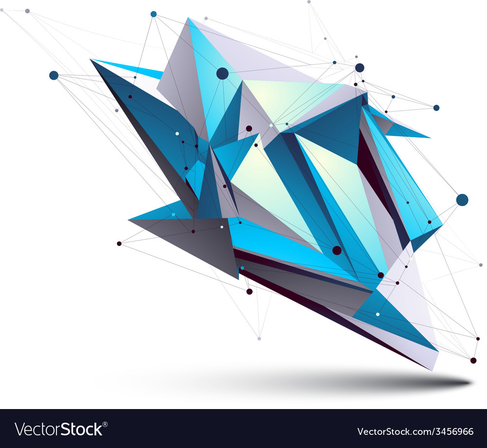 Blue abstract 3D structure polygonal object cosmic