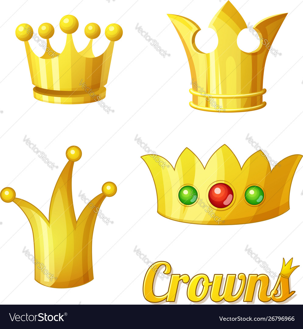 Cartoon golden crowns set for king and