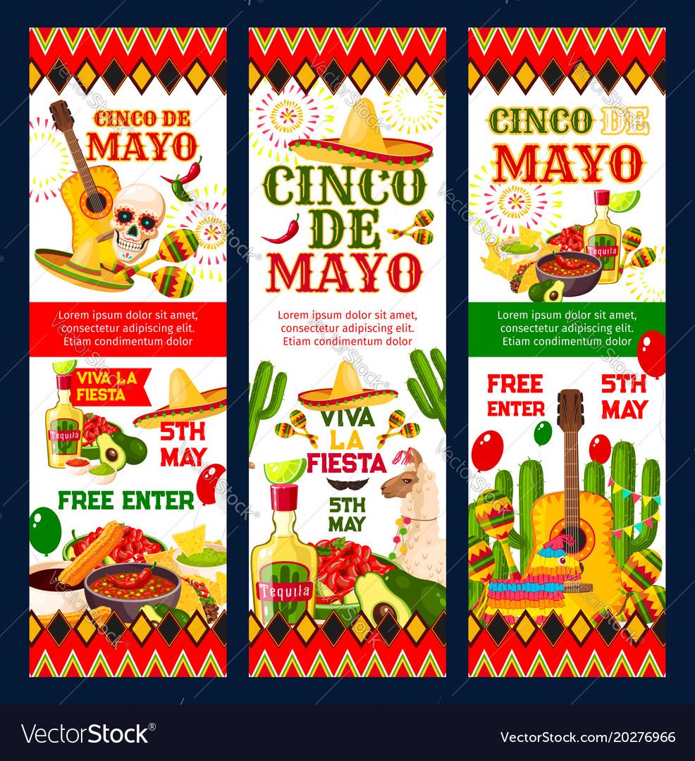 Cinco de mayo mexican fiesta party invitation card vector image