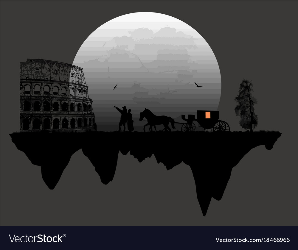 Couple silhouette and carriage in front of
