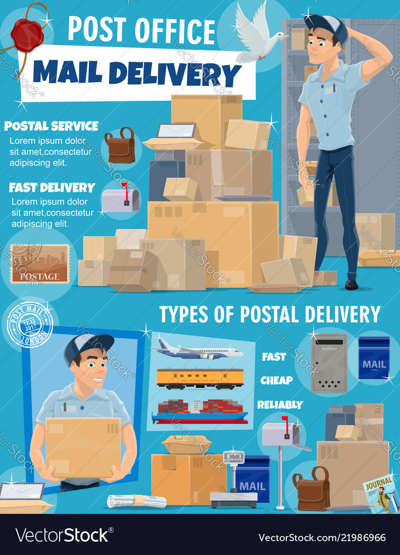 Mail Delivery Service Postman And Parcels