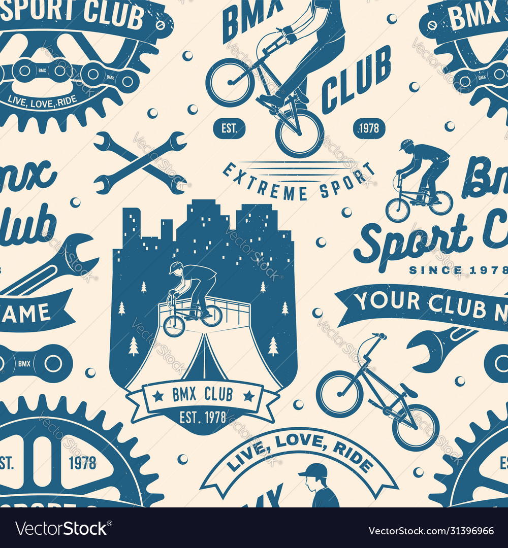 Set bmx extreme sport club seamless pattern