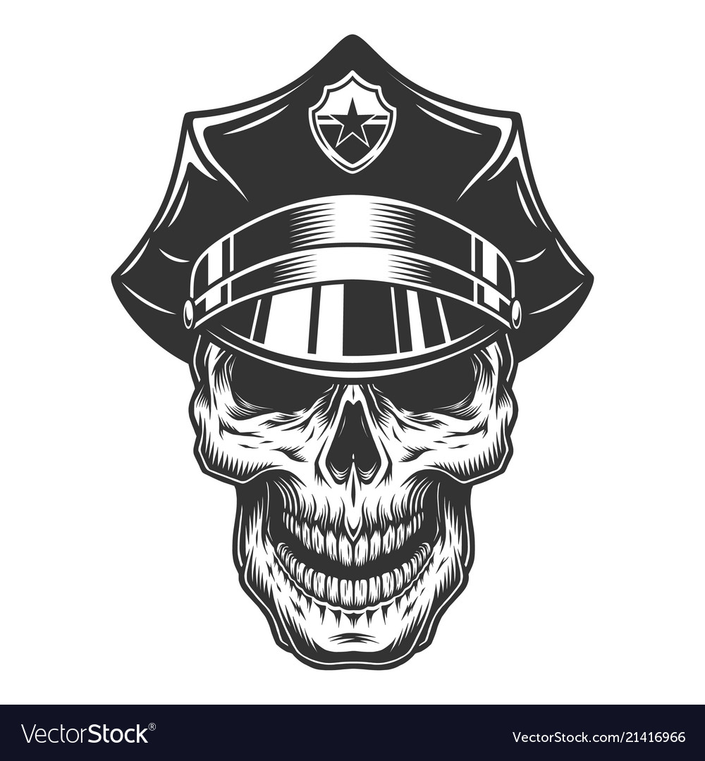 skull in the policeman hat royalty free vector image