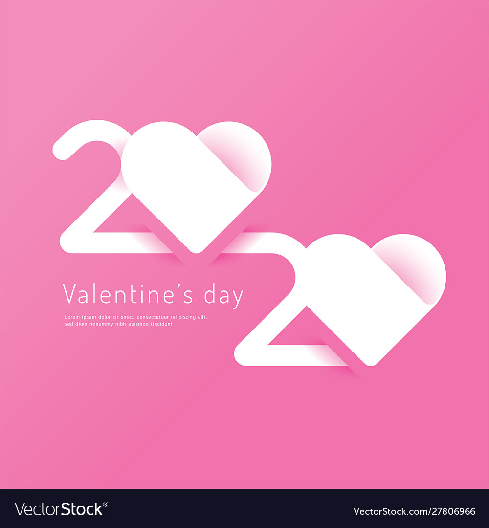 Valentines day 2020 heart paper cut concept
