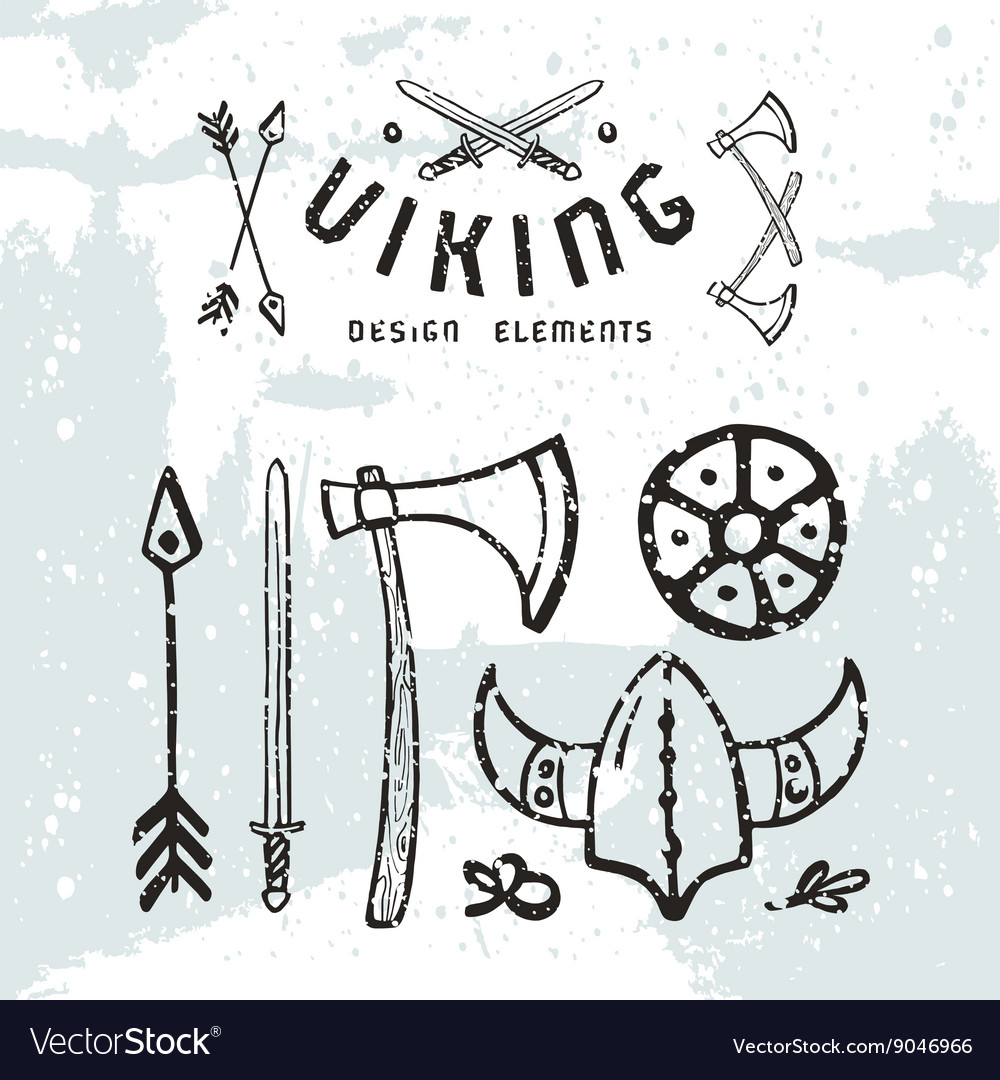 Viking design elements in hand drawn style