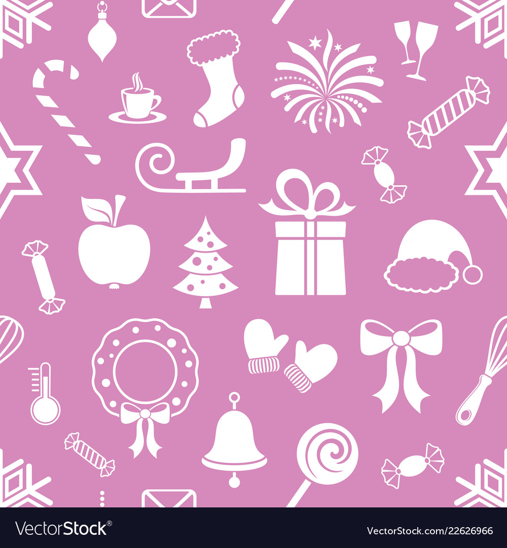 Violet endless pattern with christmas icons