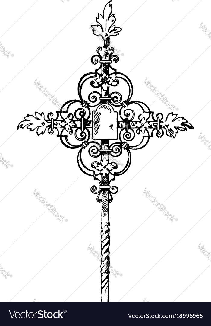 Wrought-iron tomb cross vintage