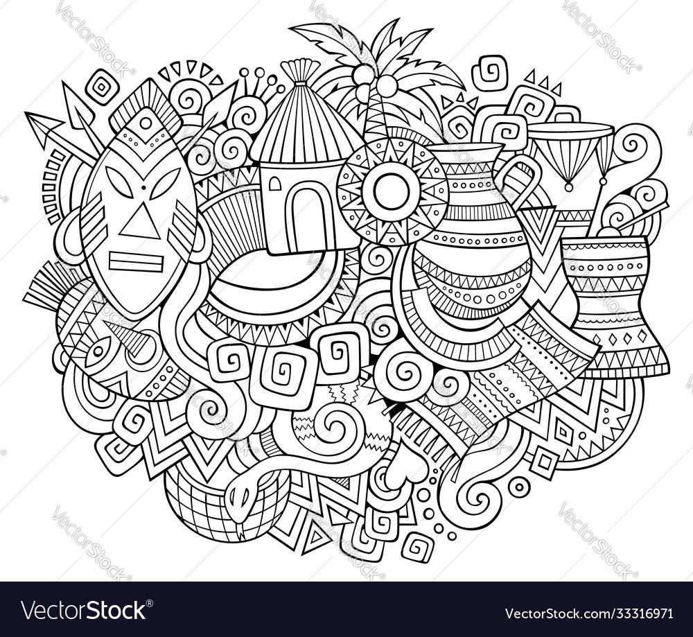 Africa hand drawn cartoon doodles
