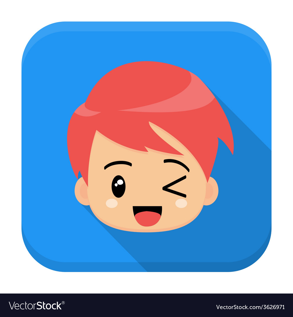 Anime boy flat app icon with long shadow vector image