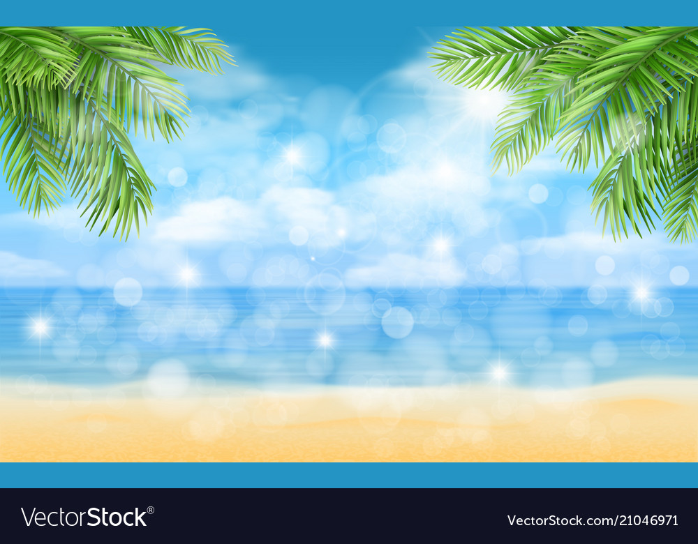 Beach with palm trees and highlights background