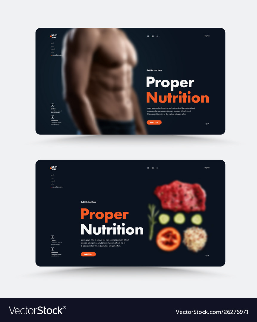 Black page web site template for personal trainer