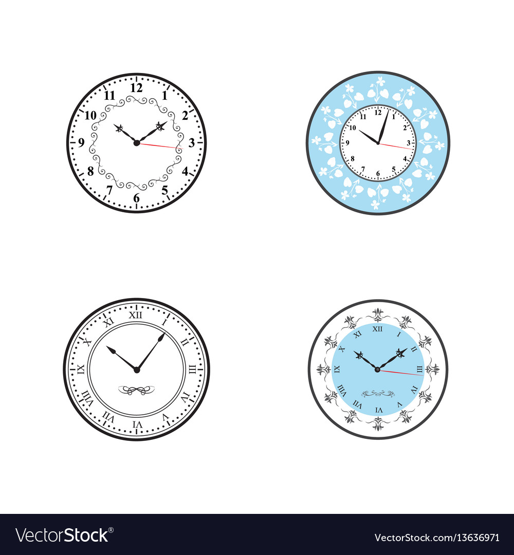 Clock clock icon set vector image