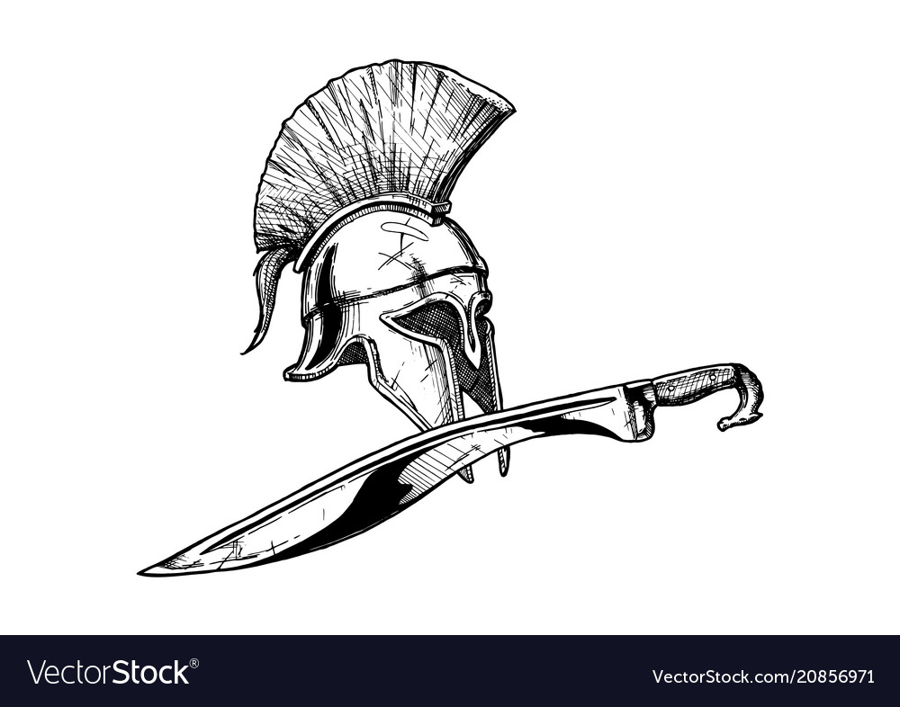 Corinthian helmet and kopis sword