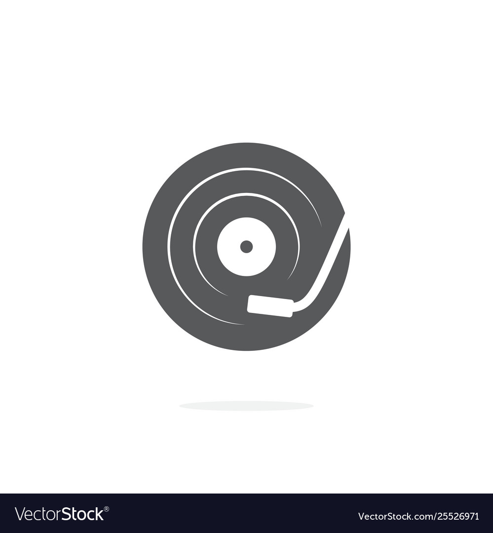 Dj turntable icon on white background