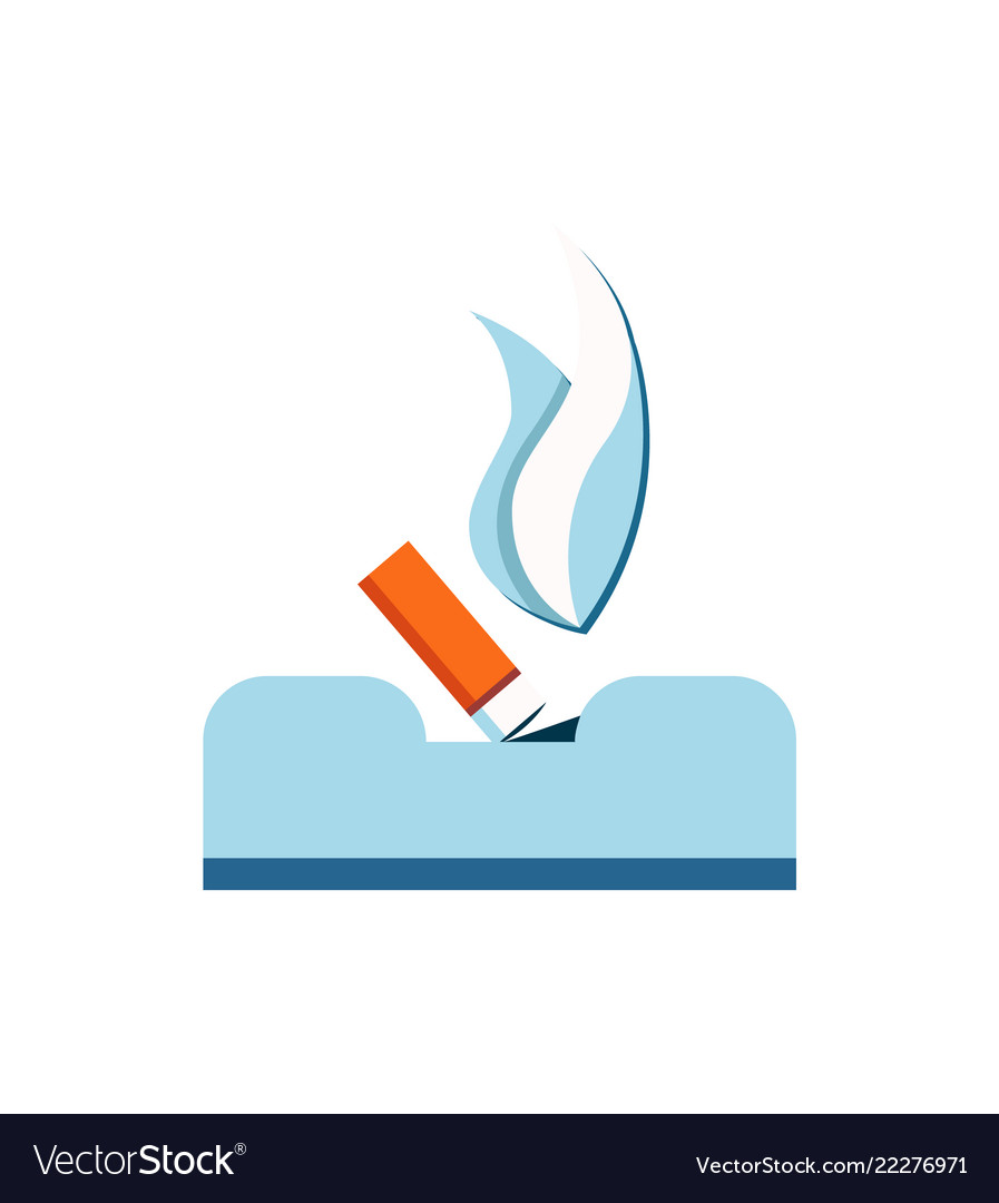 Extinguished cigarette ashtray isolated on white