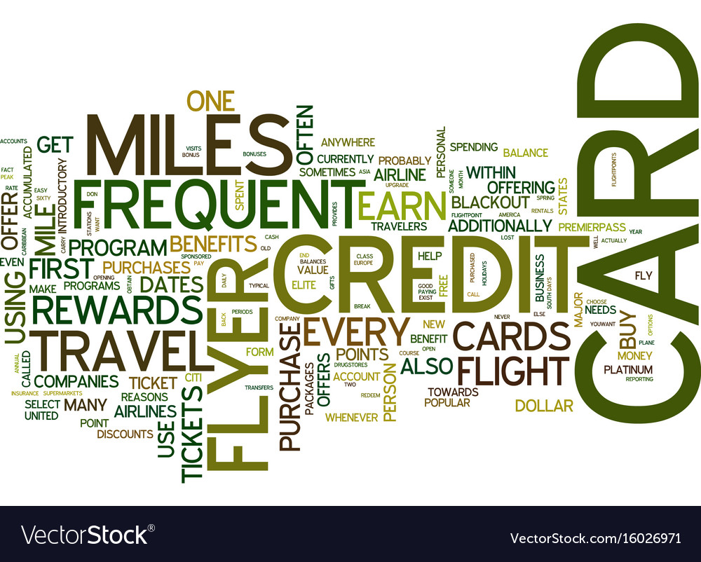 Frequent flyer credit cards text background word Vector Image