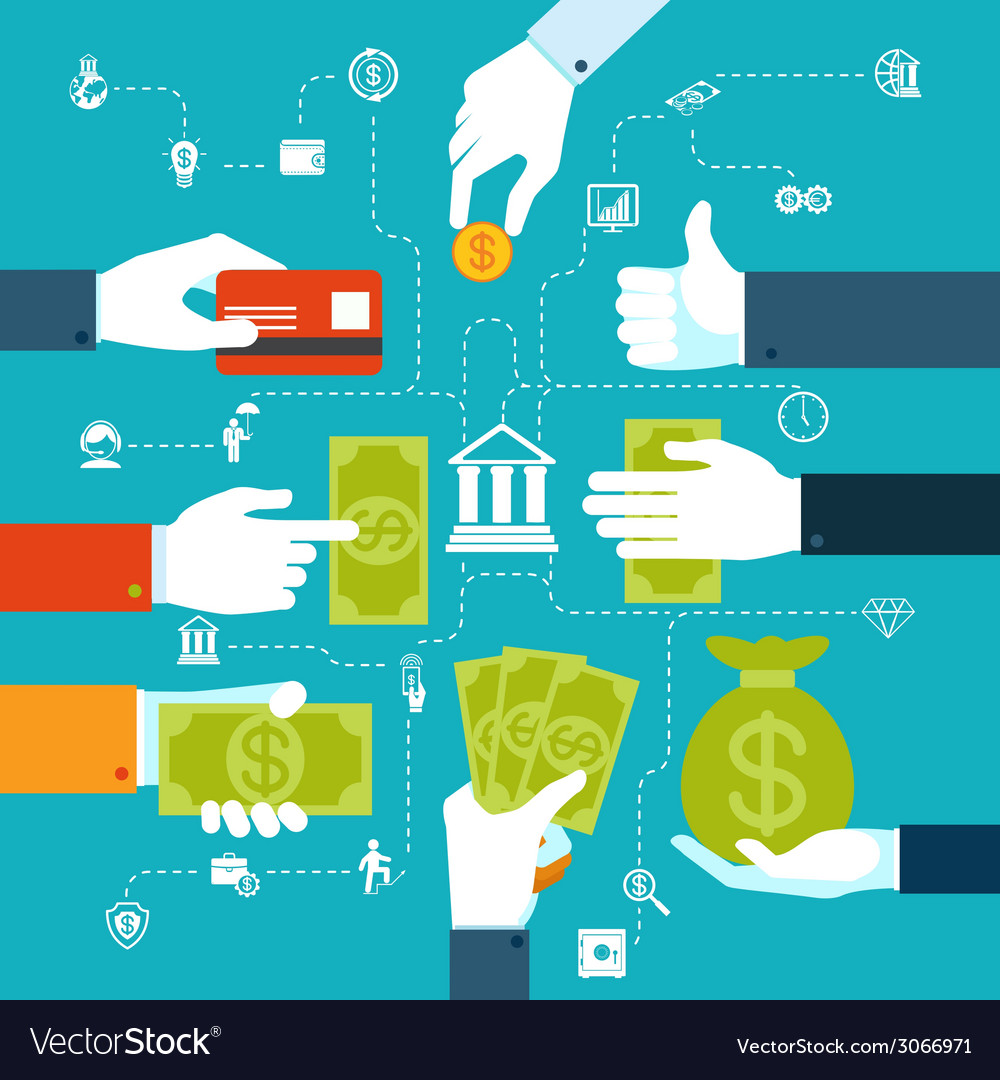 Infographic financial flowchart for money transfer