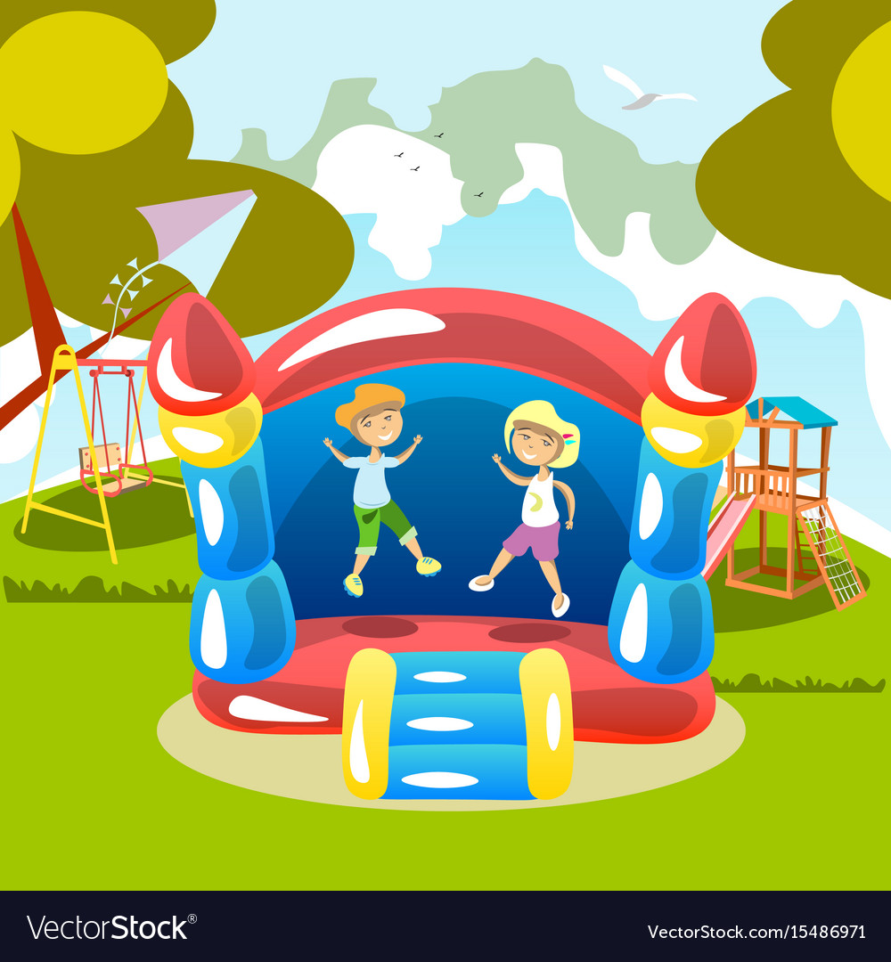 Jumping on a trampoline kids outdoor