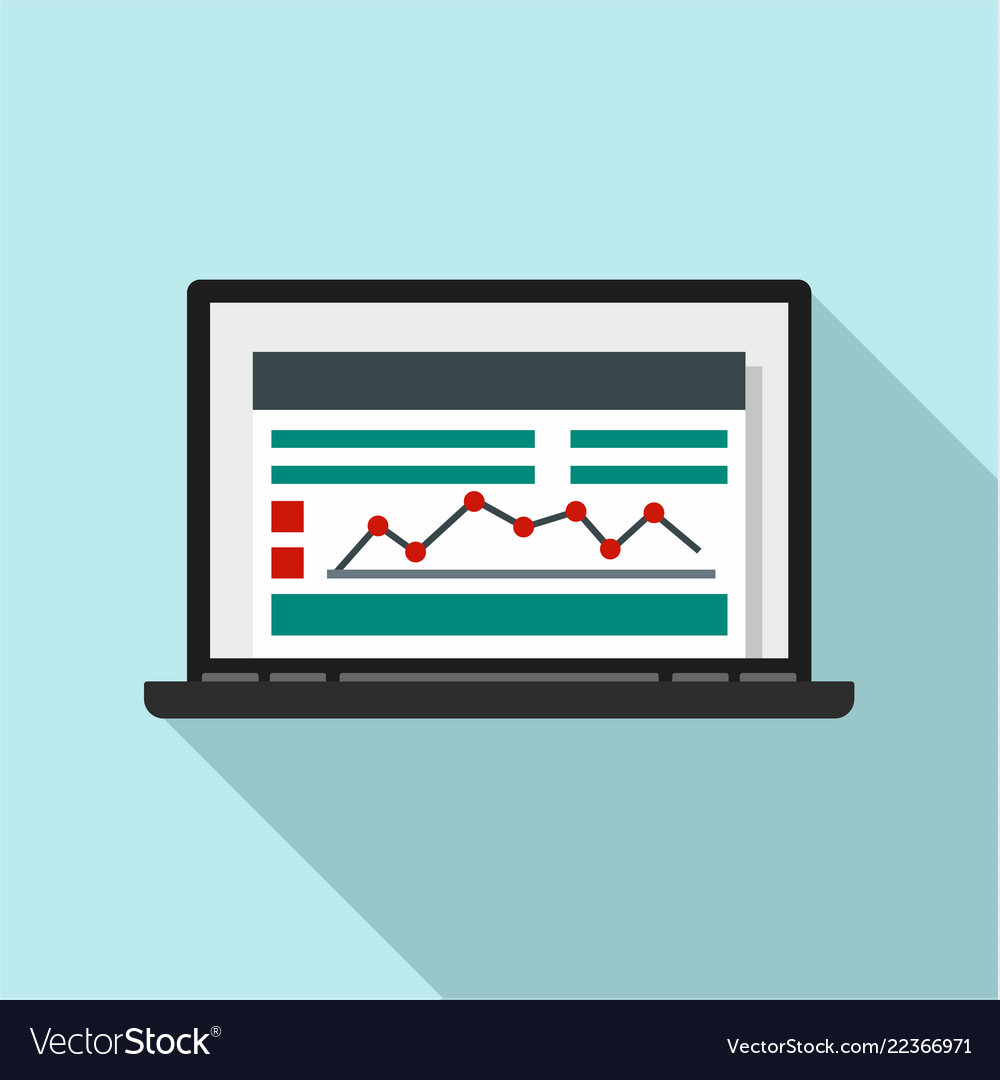 Laptop finance graph icon flat style