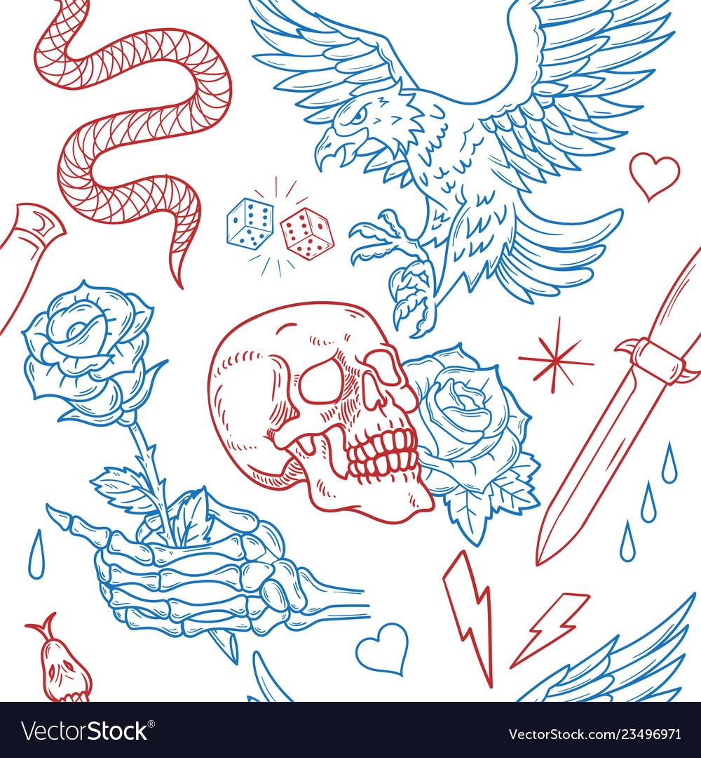 Old school tattoo line pattern