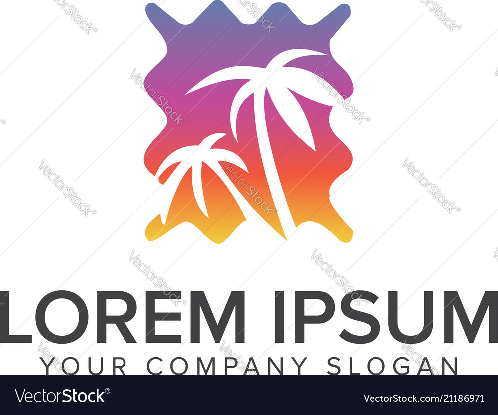 Palm tree and sun logo design vacation travel