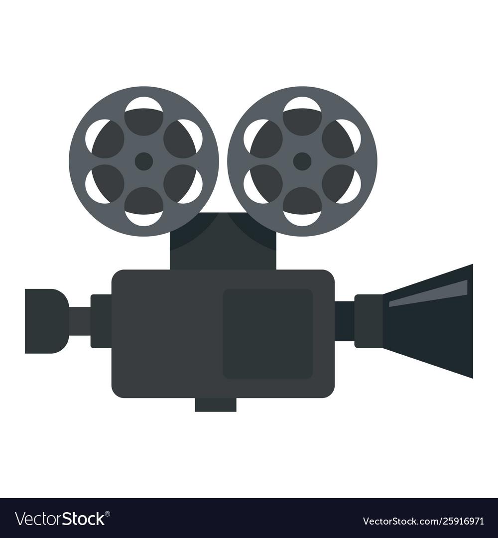 Retro film video camera icon flat style