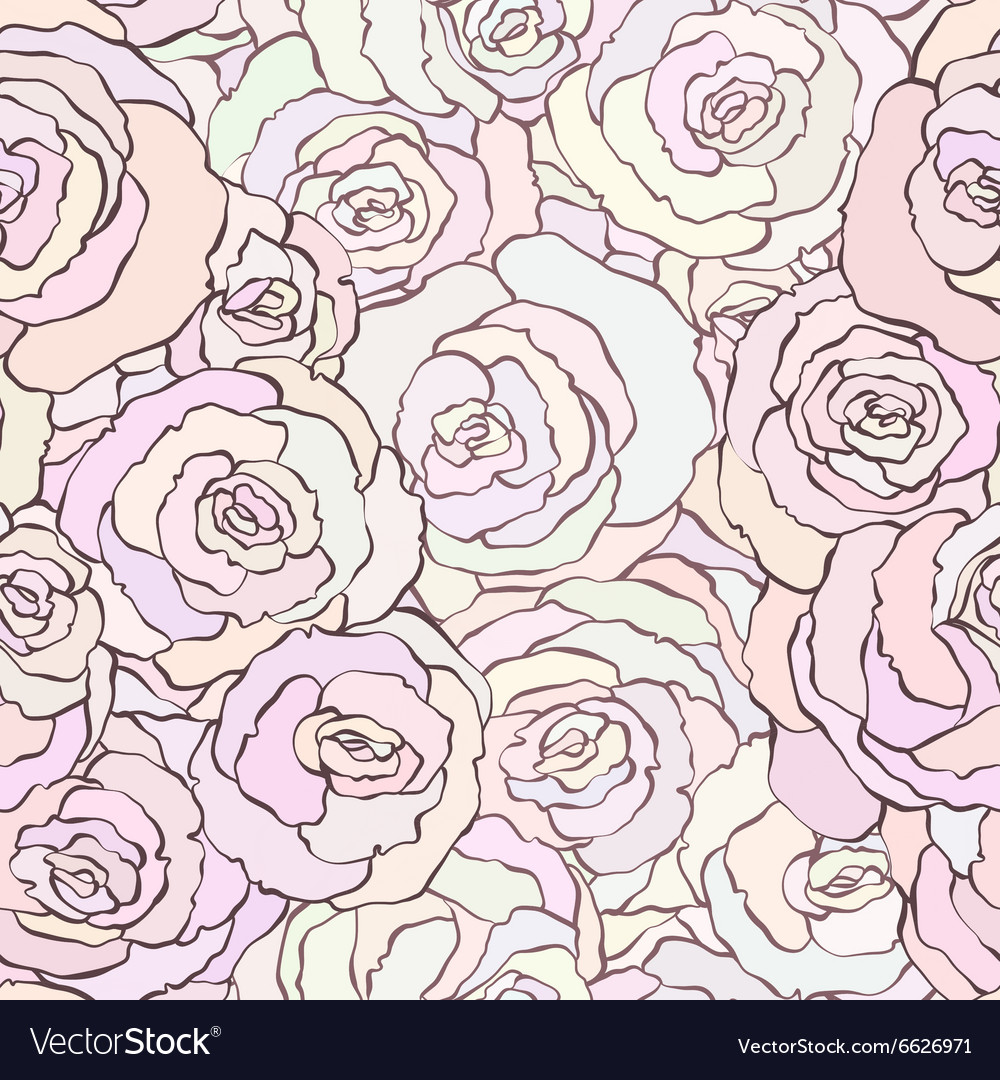 Seamless pattern with beautiful roses in soft