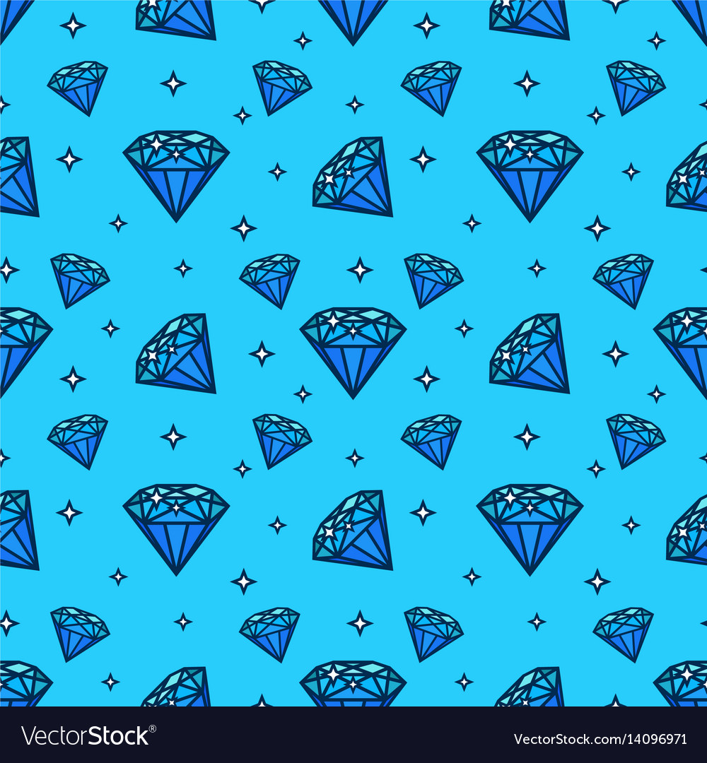 Seamless pattern with gem and diamond icons