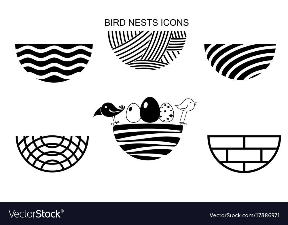 Set bird nests icons vector image