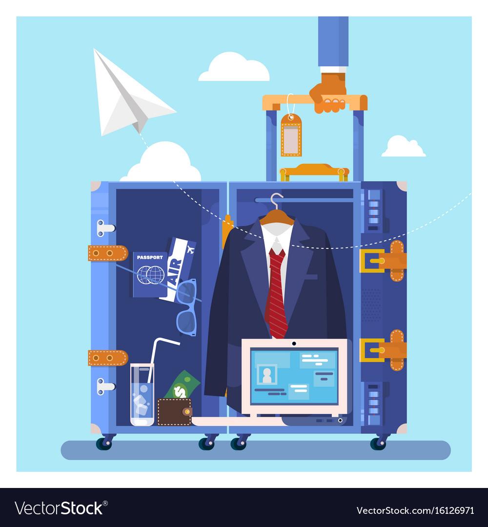 Travel business trip concept businessman holding