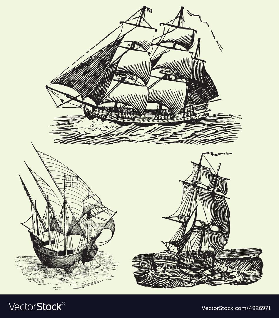 Vintage hand drawn vintage ships