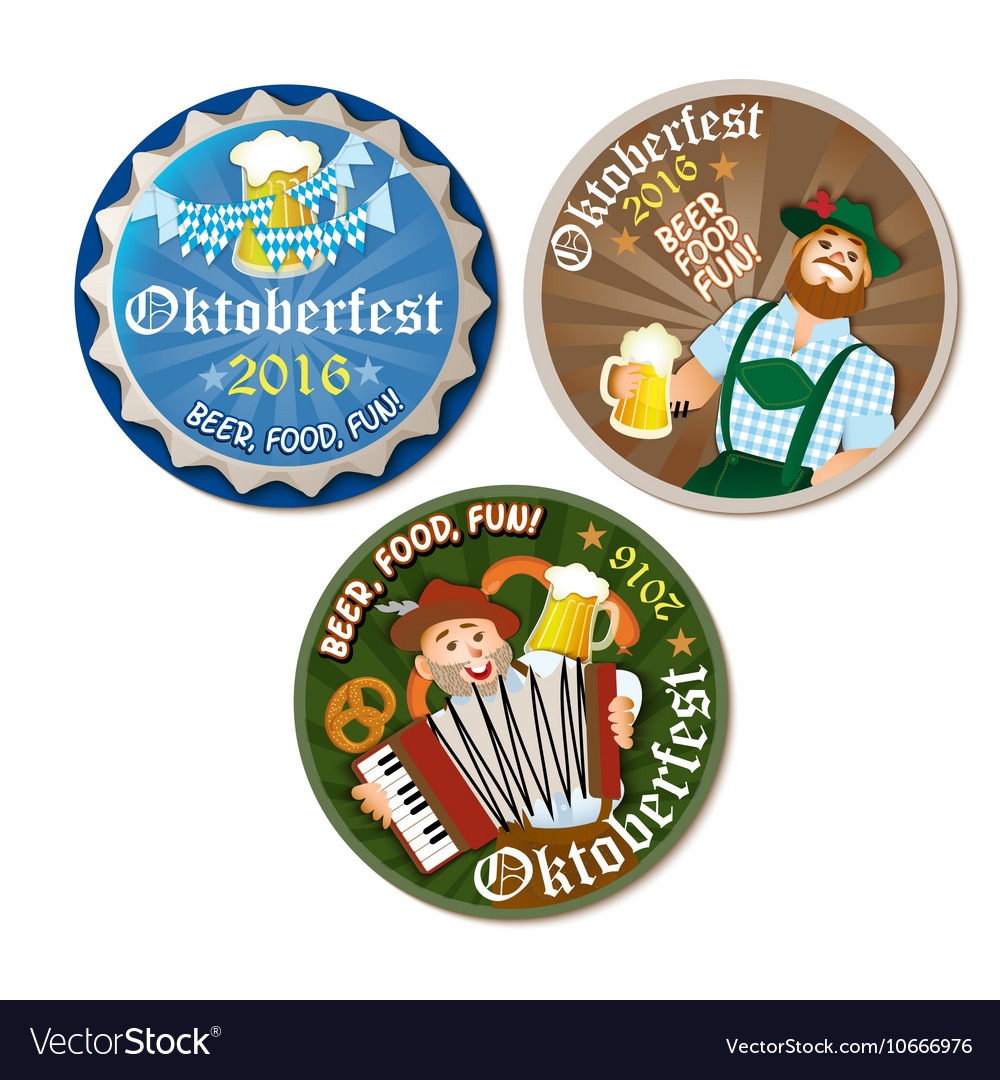 Beautiful Oktoberfest label with beer and pretzel