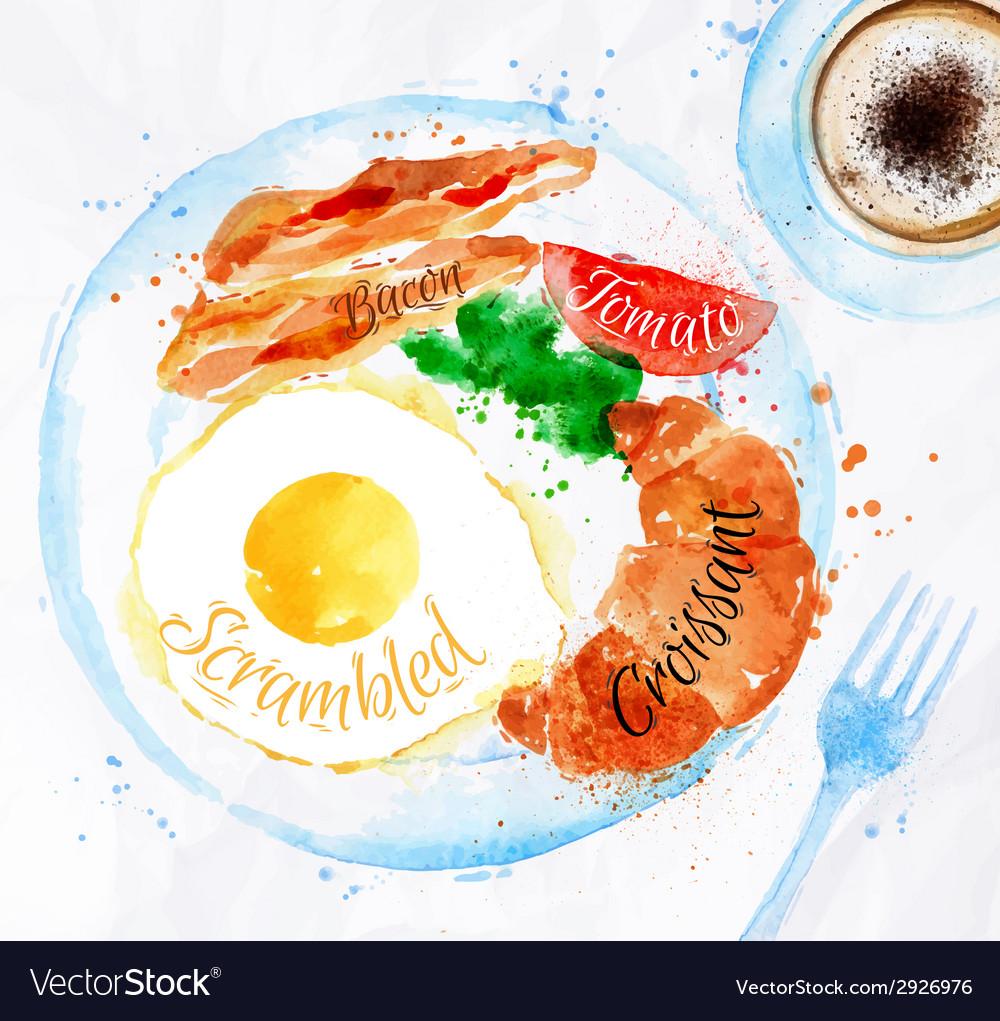 Breakfast watercolors bacon eggs vector image