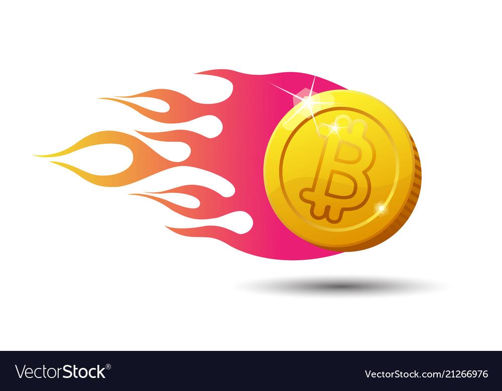 Burning bitcoin sign isolated on white background