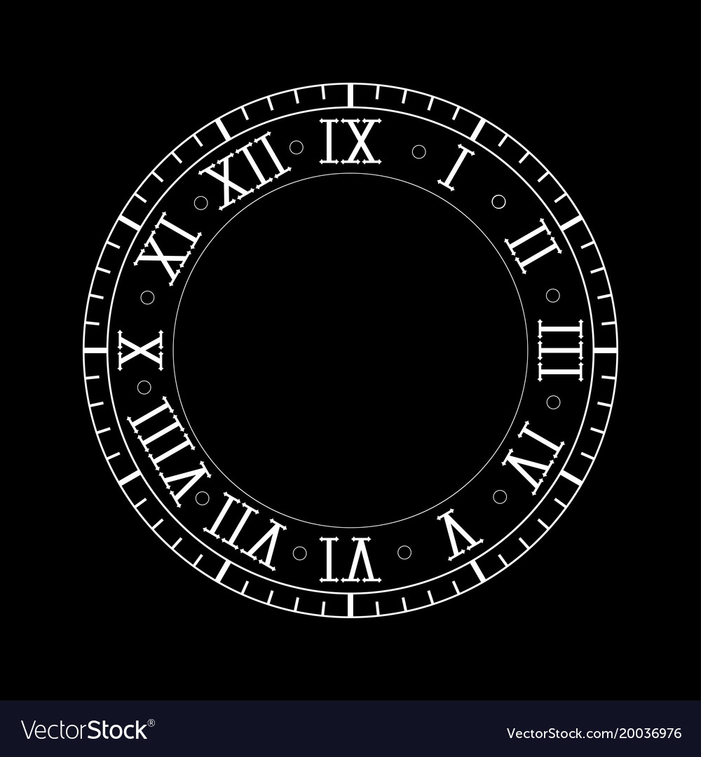 Clock with roman numerals on