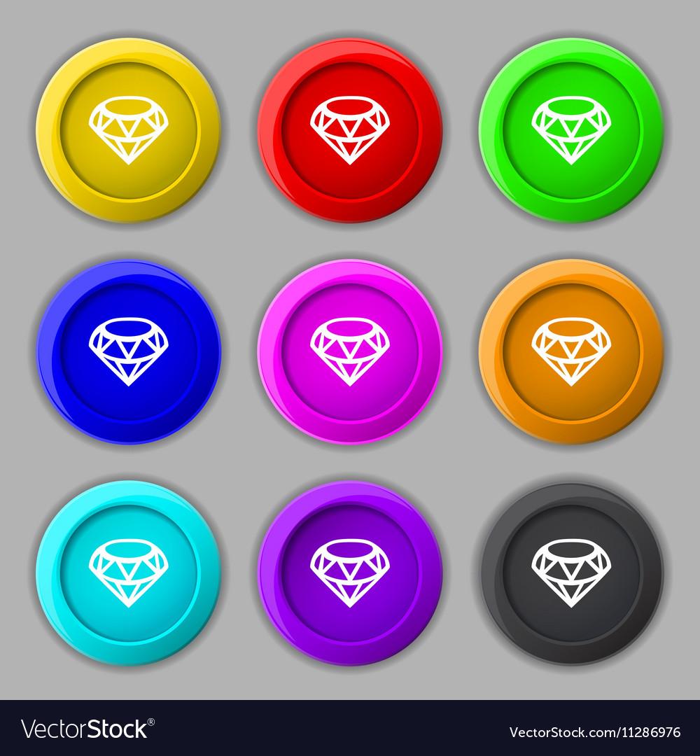 Diamond Icon sign symbol on nine round colourful
