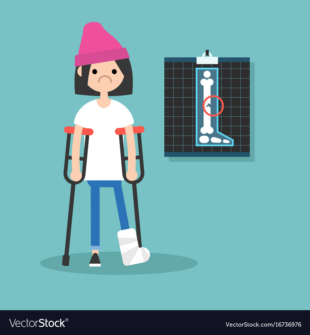 Disabled brunette girl on crutches with broken