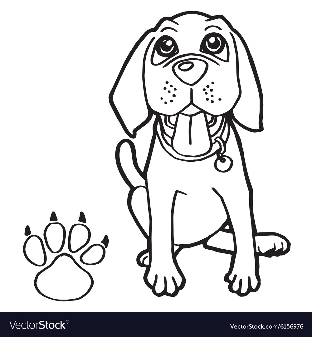 Dog With Paw Print Coloring Page Vector Image