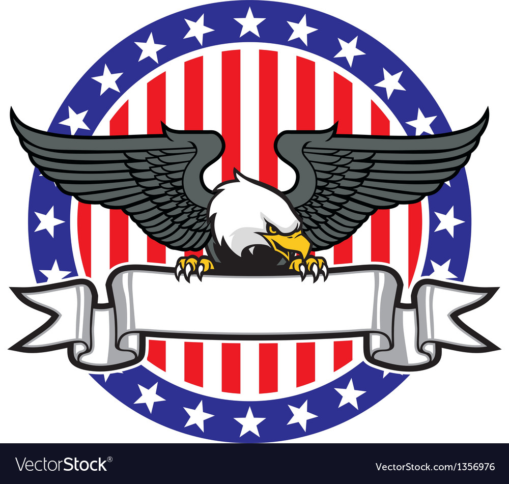 Eagle grip a ribbon with US flag as background vector image