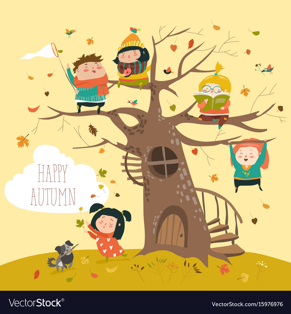 Happy children sitting on tree in autumn park vector image