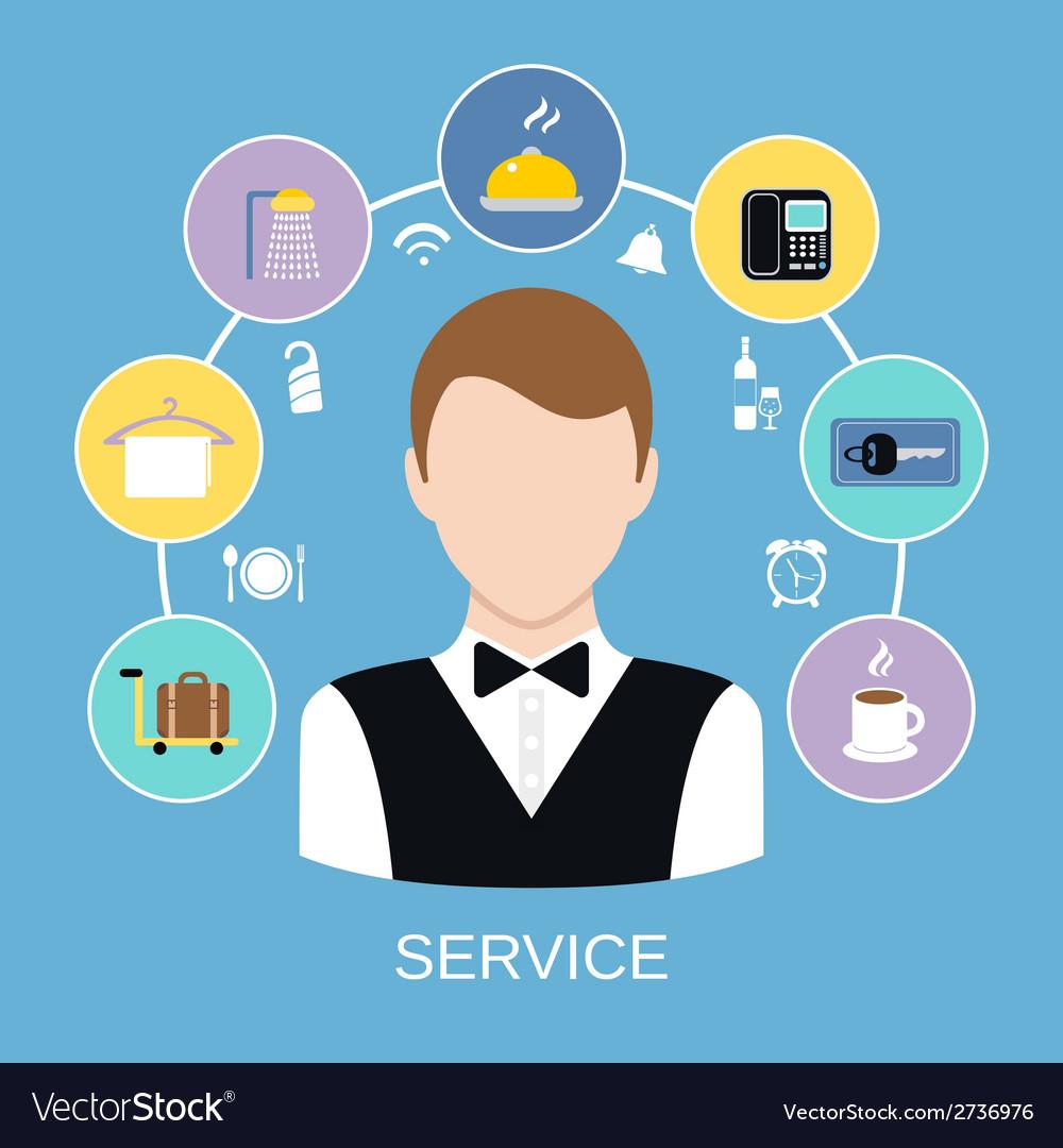 Hotel Room Service Royalty Free Vector Image Vectorstock