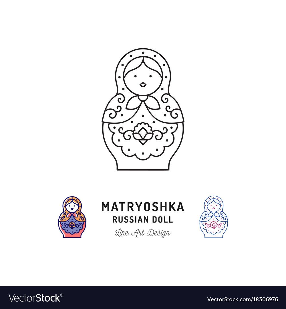 Matryoshka icon russian nesting doll thin line art