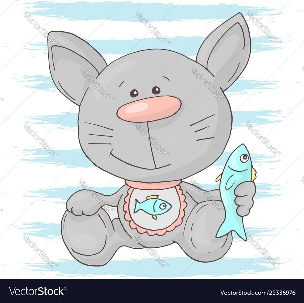Postcard cute kitten with fish cartoon style