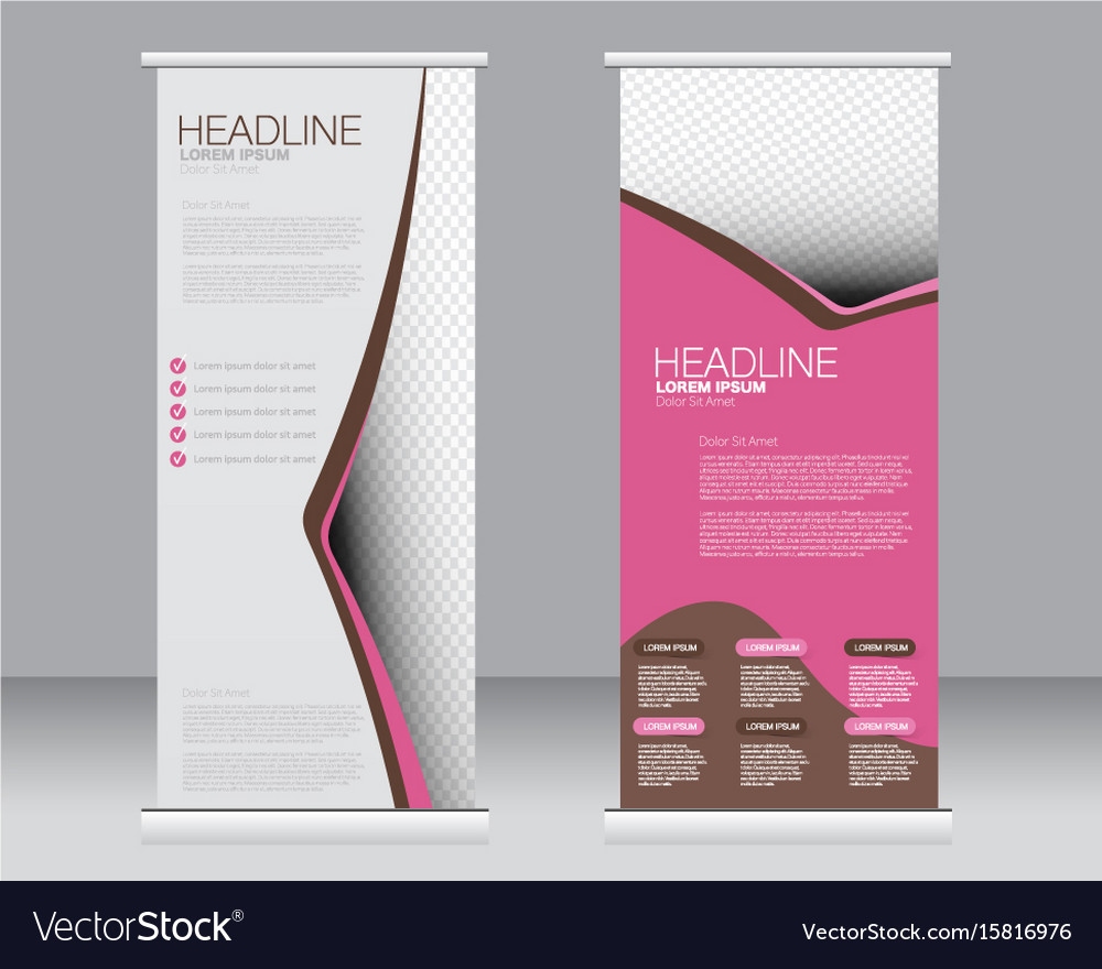roll up banner stand template royalty free vector image